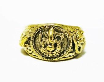Size 6, 7, 7.5 Hindu God Ganesh  Ring, Elephant Brass Ring, Hindu Ring, Elephant God Ring, Ganesha Ring, Amulet Ring, Hindu Ring