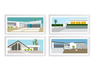Choose Any Four, Mid Century Modern Architecture Illustration, Colorful Artwork of Palm Springs Retro Vintage Style Houses