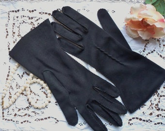 Black Van Raalte Gloves, Black Brushed Nylon Gloves, Size 6 1/2, Black Designer Gloves