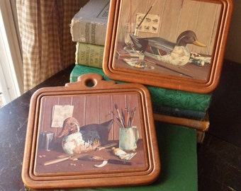 Pair of Wild Duck Plaques, Wooden Duck Decoy Pictures, Duck Wall Decor