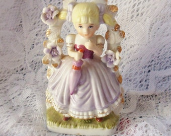 Girl with Umbrella Figurine, Little Girl by Trellis Figurine from Korea, Korean Porcelain