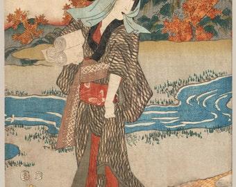 Japanese Print Reproduction. A Portrait of a Woman standing beneath maple leaves, c. 1854.  Fine Art Print.