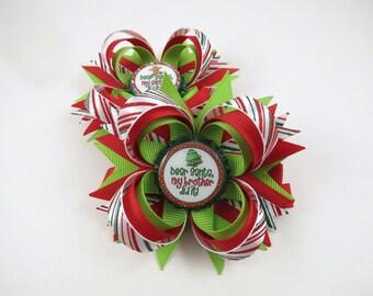 Christmas Hair Bow Headband - Dear Santa My Brother My Sister Did It Hair Bow - Red and Green Hair Bow Headband - Holiday Hair Bow