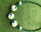 Dark Green and Teal Green and White Patterned Glass Bead Necklace app 18 inches Ladies Jewellery Gifts for her