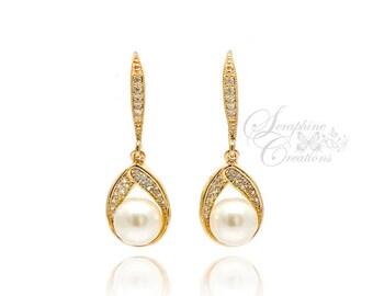Gold Bridal Earrings Pearl Wedding Jewelry Pearl Earrings Swarovski Yellow Gold Sparkly Teardrop Cubic Zirconia Dangle Bridal Earrings K028G