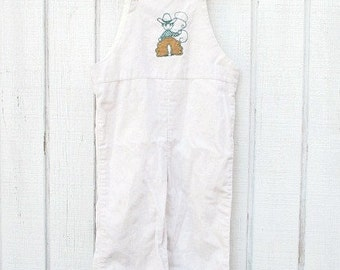 Vintage Baby Clothes Suspenders Cowboy 70's Baby Onesie White Cowboy Toddler Suspenders Overalls 3 T