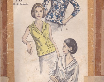 Double Breasted 60s Blouse Pattern Vogue 6301 Size 12 Uncut
