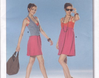 Empire Waist Dress & Halter Vest Pattern Burda 7681 Sizes 6 - 18 Uncut
