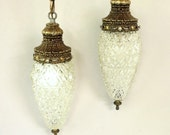 Hollywood Regency Double Globe Swag Light Clear Pineapple Glass Vintage Brass