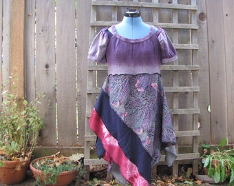 Purple Boho Butterfly Tunic Top Asymmetrical/ Funky Upcycled Eco Blouse/ Lagenlook Tattered Womens Babydoll Shirt S/M