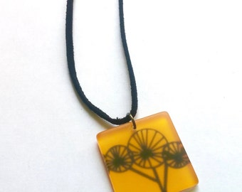 Black Flower on Yellow 'Glass' Tile Pendant. Leather Cord Necklace. Kitsch Necklace. Gift for Her. Teen Girl Necklace. Spring Fashion.