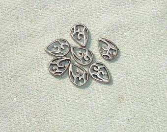 Metal Tear Drop Beads -  Jewelry Making Supplies - 7 pcs