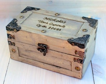Keepsake Box Memory Box Love Letters Time Capsule Jewelry Box Treasure Chest Trunk (SMALL)