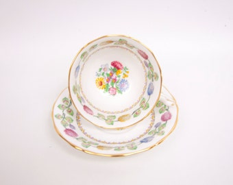 Vintage Adderley Teacup Saucer Meadowsweet Pattern Made in England Best Bone China Footed Tea Cup