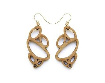 Statement earrings - drop earrings in wood - wooden earrings - extra long earrings - gift for her