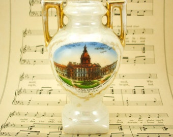 Early 1900s PEORIA, ILLINOIS Souvenir Vase Court House & Soldiers Monument Vintage Antique Pearl Luster Porcelain Pottery Made in Germany