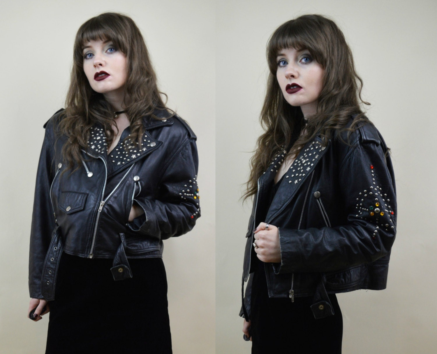 Reserved 90s goth clubkid black shiny pvc motorcycle biker jacket s -  Zoom