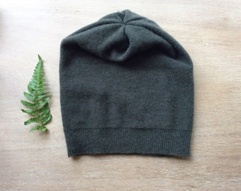 cashmere hat in forest Green, beanie, knit hat