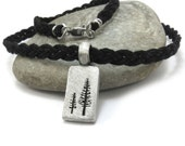 Hemp Necklace, Nature Lover's Gifts - Pine Tree Pendant with Custom Hemp Cord, Hippie Jewelry