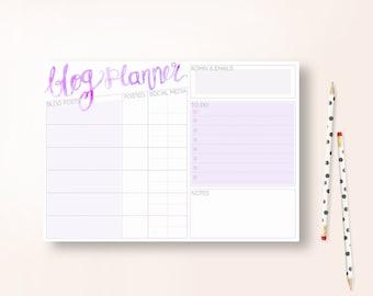 A4 Blog Planner / Organizer - Purple - Instant Download
