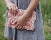 20% OFF Use code 'SPULE20' at checkout! - Blush Rose Clutch - Tassel Zipper Pouch - Faux-Leather Ruffled Clutch