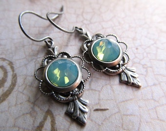 Opal Earrings Fire Opal Earrings Opal Jewelry Art Deco Earrings Art Nouveau Earrings Sterling Silver Earrings Green Earrings- Mint