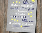 In Memory - Twinkle Twinkle Little Star, Up in Heaven is Where You Are - Miscarriage Stillborn Infant Loss - 8x10 Printable (digital file)