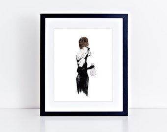 Breakfast at Tiffany's Art Print || audrey hepburn, classic movie, fashion art, breakfast at tiffanys dress, original watercolor painting