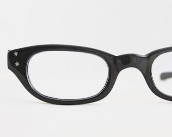 Vintage 50's French Atomic Black Horn Minimalist Cat Eyeglasses Frames
