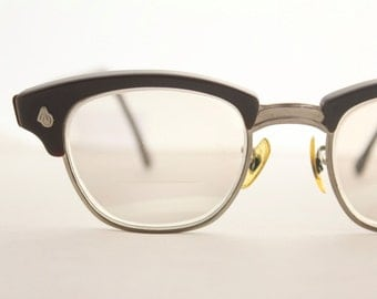 Vintage 50's Espresso Horn Cat Eye Eyeglasses