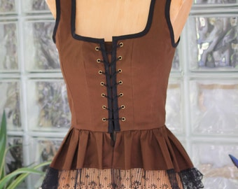 Victorian Steampunk Corset Bodice - Pirate Costume Steam punk Brown Vest