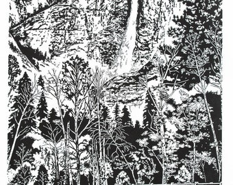 Spring Runoff - Yosemite, Famous Falls Fine Art Linocut Print 24 x 18 Black & White, Relief Print, Anniversary Series, National Park