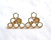 Geometric Gold and Rhinestone Earrings Pierced Vintage Oddly Lovely