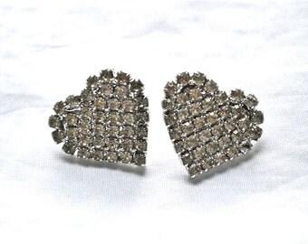 Glamor Girl Vintage Heart Shaped Rhinestone Sparklers Pierced Vintage