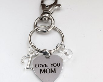 Personalized Love you MOM Keychain