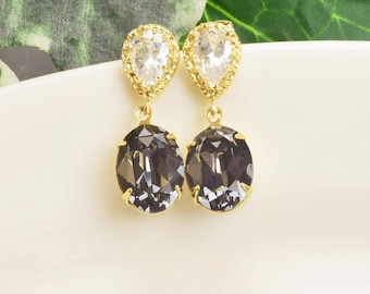 Charcoal Gray Earrings - Gold Gray Swarovski Crystal Earrings - Crystal Drop Earrings - Grey Bridesmaid Earrings - Bridesmaid Jewelry