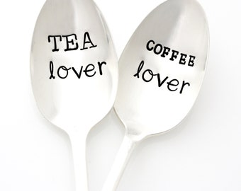 Stamped Spoons, Tea Lover and Coffee Lover. Hand Stamped Silverware Set. HIs and Her Couples Gift Idea by Milk & Honey.