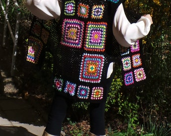 Flower power inspired crochet tunic vest - granny pattern retro new design - boho hippie clothes - size M -XXL or made to ORDER