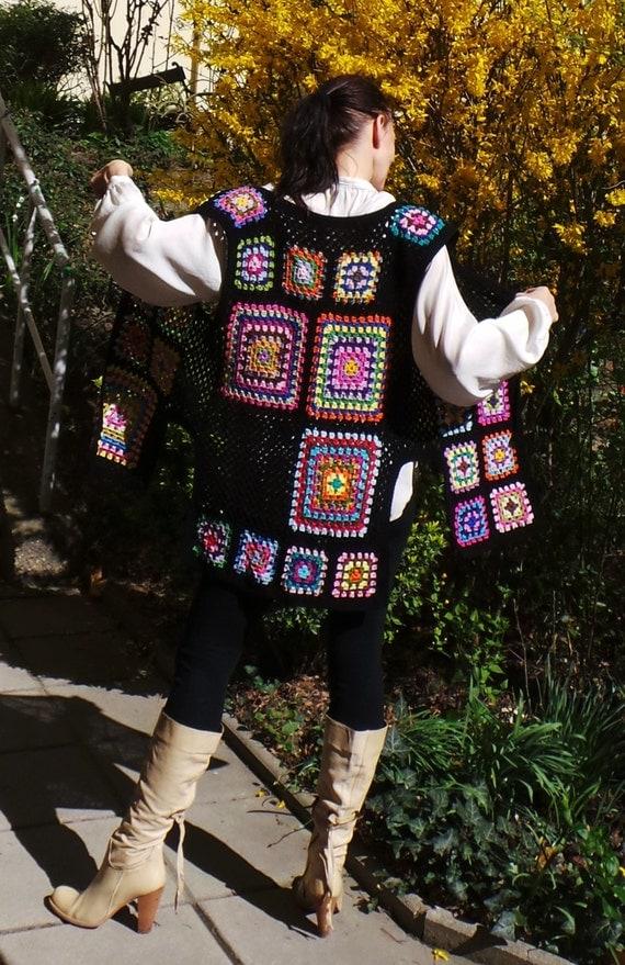 Poder de las flores de ganchillo inspirado túnica chaleco - modelo retro abuelita nuevo diseño - ropa boho hippie - talla S -XXL o hecho a la medida