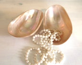 Vintage MOP Dishes, Caviar Dishes, Catchall, Opalescent Shells Pair