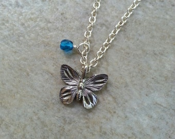 Minimalist Butterfly Charm Necklace, Winged Things, Nature Jewelry, Spring Jewelry, Summer Jewelry