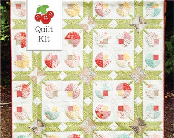 Strawberry Fields Revisited and Flower Patch Quilt Kit - One Quilt Kit - Flower Patch Quilt Pattern - Strawberry Fields Revisited Fabric