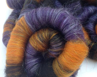 Purple, Orange and Black Hand Made Rolags for Hand Spinning or Felting, Hand Dyed Merino Wool, Tussah Silk, and Black Alpaca
