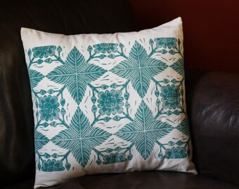Hand Printed Pillow Cover, Flower and Leaf, 18x18, Home Decor, Turquoise (Made to Order)