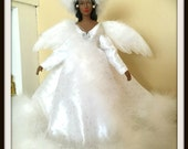 Angel Tree Topper, African American Christmas Angel, White Faux Fur, Snow Queen, Black Holiday Angel, Doll OOAK Porcelain
