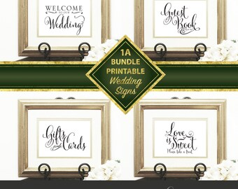 Wedding Signs Package, Bundle 01, Welcome sign, Gift & Card, Guest Book, Love is Sweet, Script signs, Downloadable, Print it yourself.