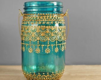 Moroccan Designed Mason Jar Lantern, Teal Glass with Gold Detailing