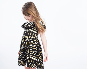 Flutter Top Twirling Dress in Gold and White on Black 'Hawk Wing'