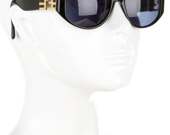80s FENDI Luxe Minimal + Chic Thick Cat Eye Vintage Designer Sunglasses w/ Gold Logo Temples