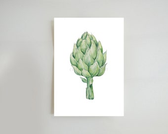 Artichoke glicee print from original drawing-Fine art reproduction art  drawing vegetable painting wall art home decor kitchen dinning room